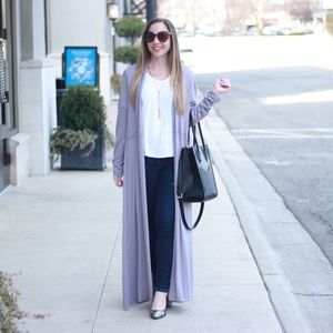 Gray Long Tunic Cardigan